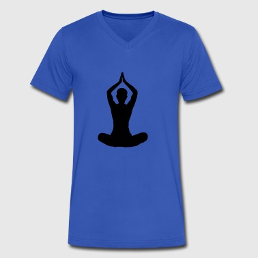 yoga sitting women wife lotus seat arms up black - Men's V-Neck T-Shirt by Canvas