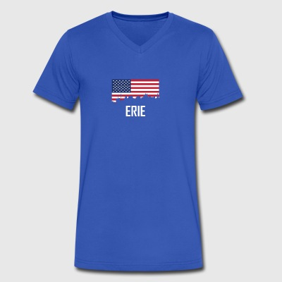 Erie Pennsylvania Skyline American Flag - Men's V-Neck T-Shirt by Canvas