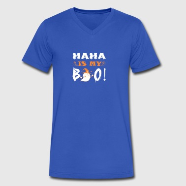 Haha Is My Boo Happy Halloween - Men's V-Neck T-Shirt by Canvas