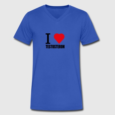 I LOVE TESTOSTERON schwarz - Men's V-Neck T-Shirt by Canvas
