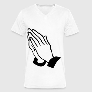 praying hands - Men's V-Neck T-Shirt by Canvas