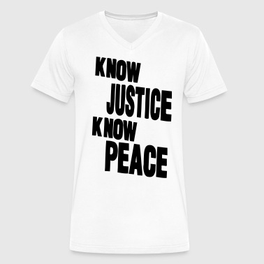 KNOW JUSTICE KNOW PEACE - Men's V-Neck T-Shirt by Canvas
