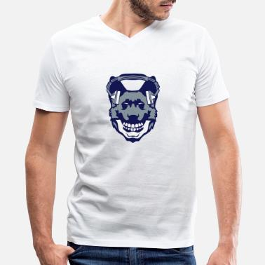 Death Audio dog audio music skull headphones death - Men's V-Neck T-Shirt by Canvas