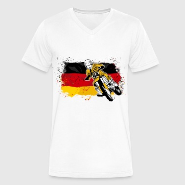 Moto Cross - Supercross - German Flag - Men's V-Neck T-Shirt by Canvas