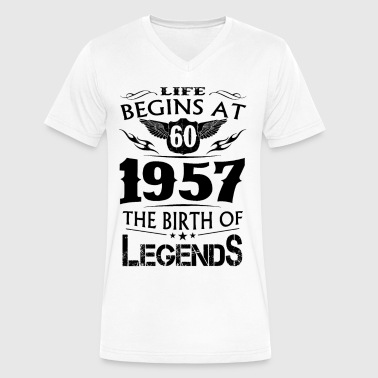 Life Begins At 60 1957 The Birth Of Legends - Men's V-Neck T-Shirt by Canvas