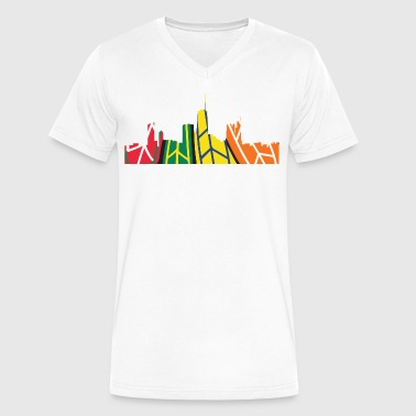 Chicago Skyline Comfy Chicago Hockey Skyline - Men's V-Neck T-Shirt by Canvas