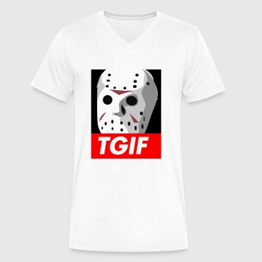 #TGIF Thank God it's Friday the 13th - Men's V-Neck T-Shirt by Canvas