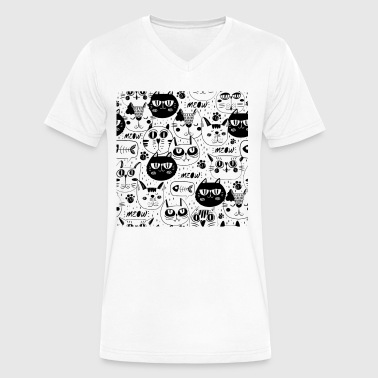 Cat Pattern cat faces pattern background - Men's V-Neck T-Shirt by Canvas