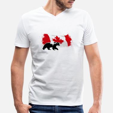 Canada Flag Canada  - Bear & Flag - Men's V-Neck T-Shirt