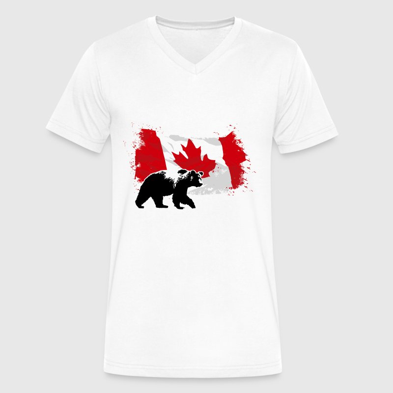Canada  - Bear & Flag - Men's V-Neck T-Shirt by Canvas