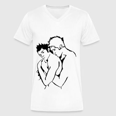 gay hug - Men's V-Neck T-Shirt by Canvas