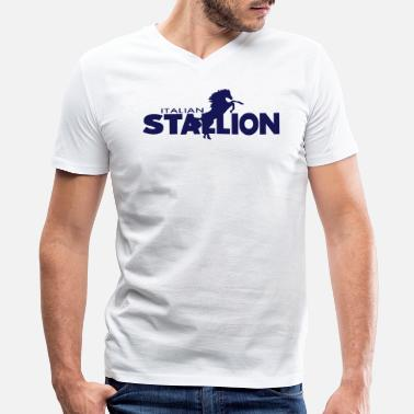 Rocky Italian Stallion ITALIAN STALLION - Men's V-Neck T-Shirt by Canvas