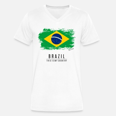 Brazil-countries-flags BRAZIL FLAG - THIS IS MY COUNTRY - Men's V-Neck T-Shirt by Canvas