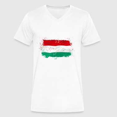 Hungary Flag - Men's V-Neck T-Shirt by Canvas