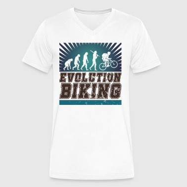 Track Evolution Evolution Biking - Men's V-Neck T-Shirt by Canvas