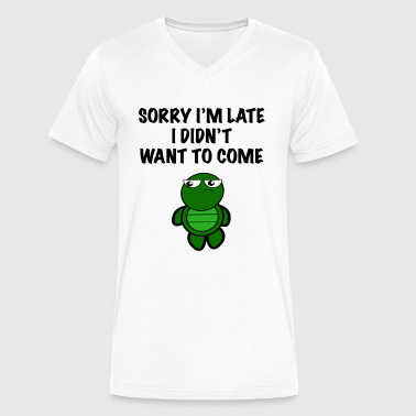 Bad Turtle Sorry I'm late Turtle - Men's V-Neck T-Shirt by Canvas
