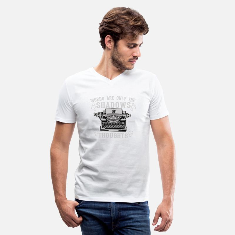 Book Quotes T-Shirts - Words Are Only The Shadow Of Thoughts - Typewriter - Men's V-Neck T-Shirt white