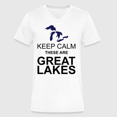 Keep Calm/Great Lakes - Men's V-Neck T-Shirt by Canvas