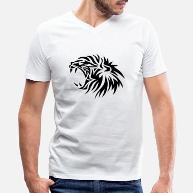 Lion King 2 tribal lion king jungle lowe 4022 - Men's V-Neck T-Shirt by Canvas