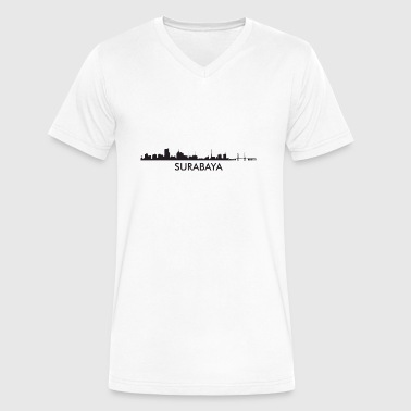 Surabaya Indonesia Skyline - Men's V-Neck T-Shirt by Canvas