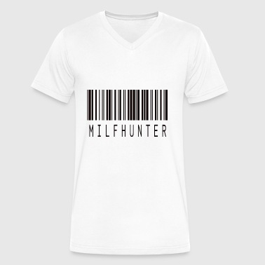 MILFHUNTER BARCODE BLACK - Men's V-Neck T-Shirt by Canvas