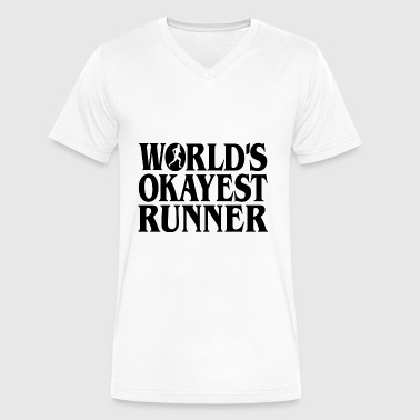 Worlds Okayest Runner Worlds Okayest Runner b - Men's V-Neck T-Shirt by Canvas