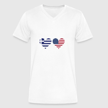 Greek Heart Greek American Flag Hearts - Men's V-Neck T-Shirt by Canvas