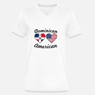 Dominican American Flag Dominican American Flag Hearts - Men's V-Neck T-Shirt by Canvas