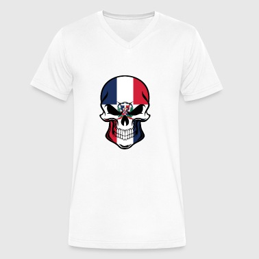 Dominican Flag Dominican Flag Skull - Men's V-Neck T-Shirt by Canvas