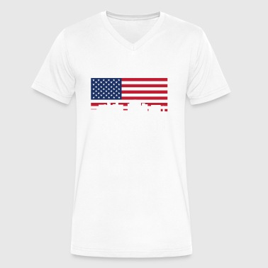 Wilkes-barre Wilkes-Barre Pennsylvania Skyline American Flag - Men's V-Neck T-Shirt by Canvas