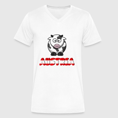 Funny Austria Austria and funny cow - Men's V-Neck T-Shirt by Canvas