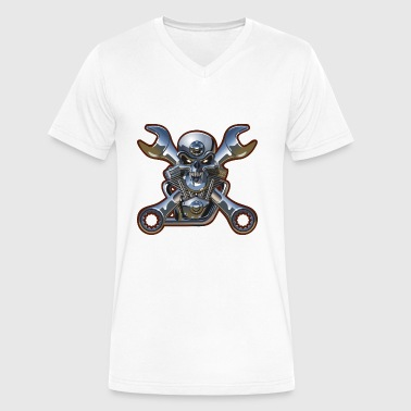 Shiny Metal Metal Skull And Wrenches - Men's V-Neck T-Shirt by Canvas
