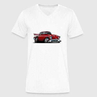 1957 Chevy Classic American 57 Hot Rod Cartoon - Men's V-Neck T-Shirt by Canvas