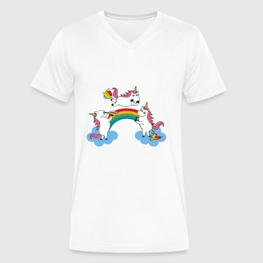 Farting Pooping Pooping Drunken Farting Unicorn - Men's V-Neck T-Shirt by Canvas
