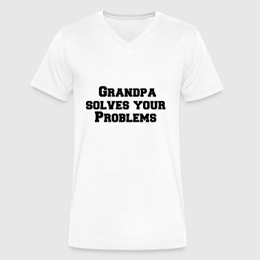 Solve Your Problems Grandpa solves your problems - Men's V-Neck T-Shirt by Canvas
