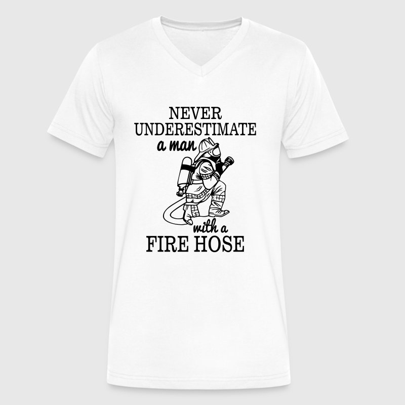 NEVER UNDERESTIMATE A MAN WITH A FIRE HOSE! - Men's V-Neck T-Shirt by Canvas