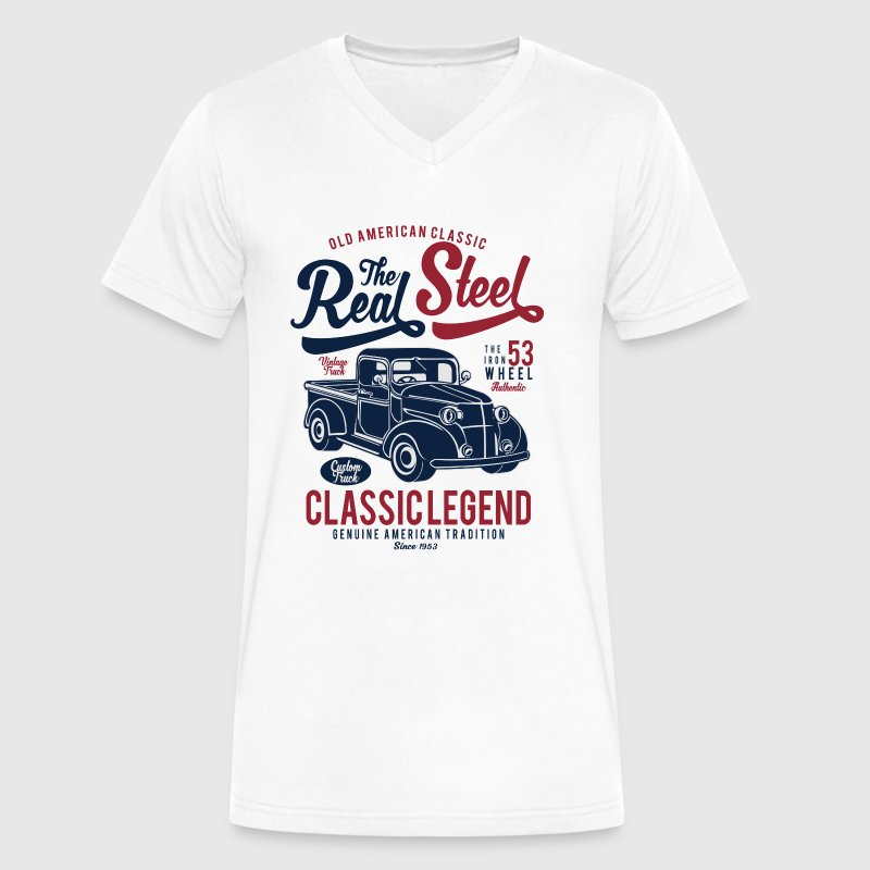 The Real Steel - Classic Legend, Vintage Car - Men's V-Neck T-Shirt by Canvas