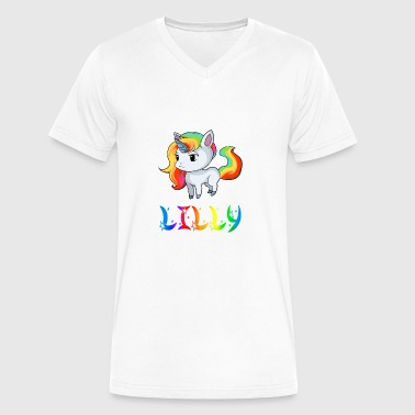 Lilly Lilly Unicorn - Men's V-Neck T-Shirt by Canvas