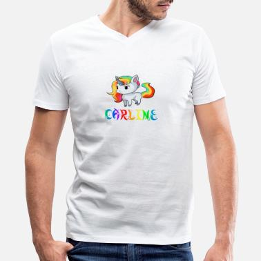 Carline Carline Unicorn - Men's V-Neck T-Shirt by Canvas