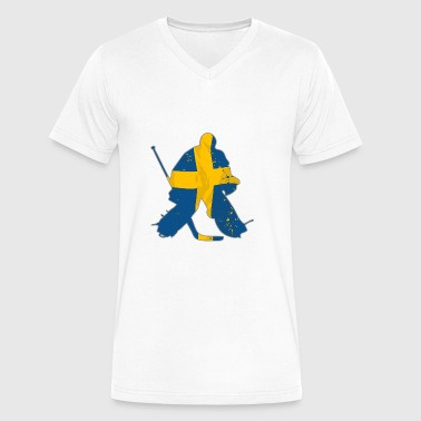Hockey Keeper - Sweden Flag - Men's V-Neck T-Shirt by Canvas