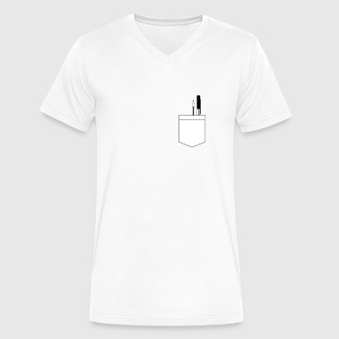 Breast Note Pocket with Pencils / Gift Idea - Men's V-Neck T-Shirt by Canvas