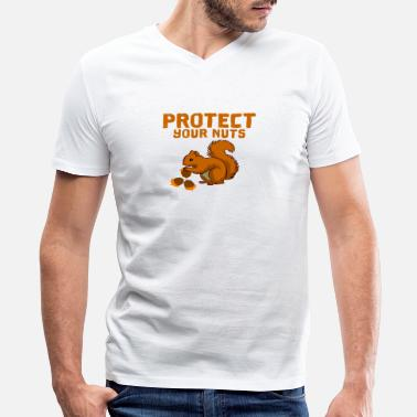 Protect Protect your nuts - Men's V-Neck T-Shirt by Canvas