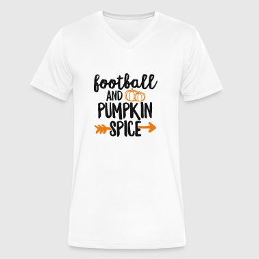Tailgate Cute Football And Pumpkin Spice TShirt Fall Tailgate Sports - Men's V-Neck T-Shirt by Canvas