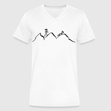 Alps Mountains Climber in the mountains - Men's V-Neck T-Shirt by Canvas