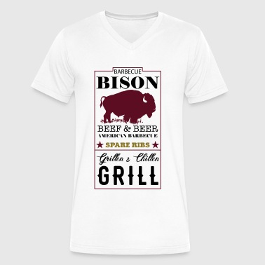 Spare Ribs Label Bison American Barbecue Spare Ribs - Men's V-Neck T-Shirt by Canvas