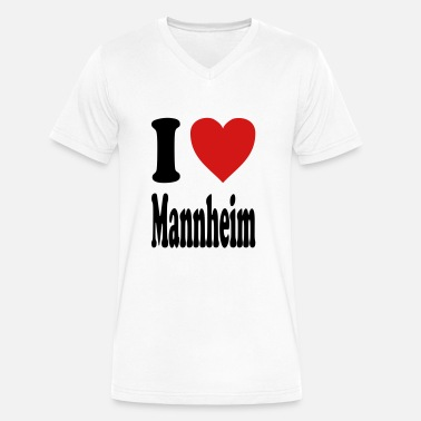 Mannheim I love Mannheim (variable colors!) - Men's V-Neck T-Shirt by Canvas