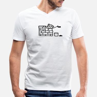 Trowel  Bricklayer with trowel - Men's V-Neck T-Shirt by Canvas