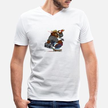 Smokey-the-bear smokey the skateboard bear - Men's V-Neck T-Shirt by Canvas