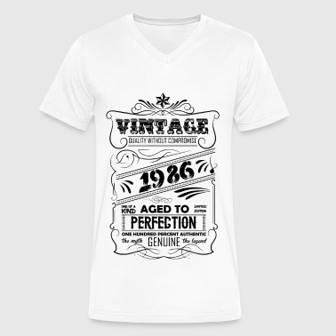 1986 Aged To Perfection Vintage Aged To Perfection 1986 - Men's V-Neck T-Shirt by Canvas