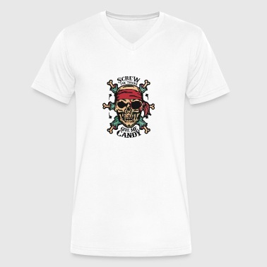 Pirate Zombie Skull - Men's V-Neck T-Shirt by Canvas